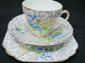 Stanley china tea trio - gilt lace